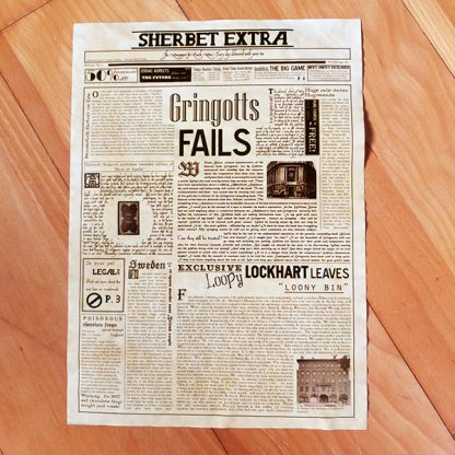 Geeky gift - Wizarding Newspaper Poster- Sherbet Extra overview