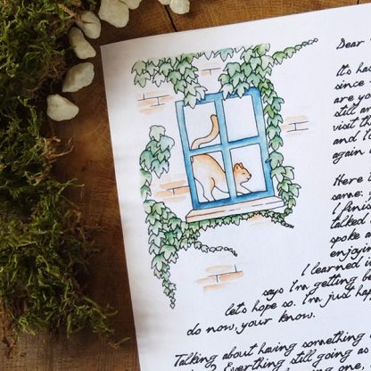 Geeky fairytale stationery - Window cat writing paper - main image