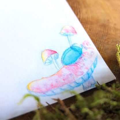 Magical fairy tale illustration: Firefly and beetle mushroom night - Printable A6 envelope stationery download - detail picture