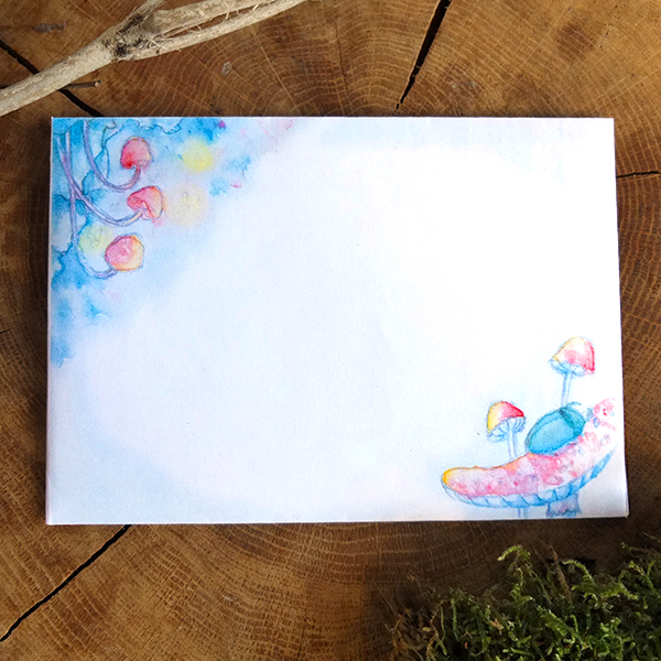 Magical fairy tale illustration: Firefly and beetle mushroom night - Printable A6 envelope stationery download - overview picture