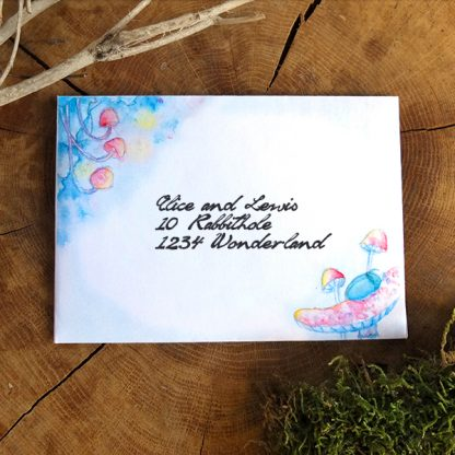 Magical fairy tale illustration: Firefly and beetle mushroom night - Printable A6 envelope stationery download