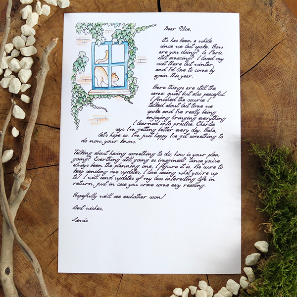 Fairytale geeky letter - Window Cat writing paper stationery - overview picture