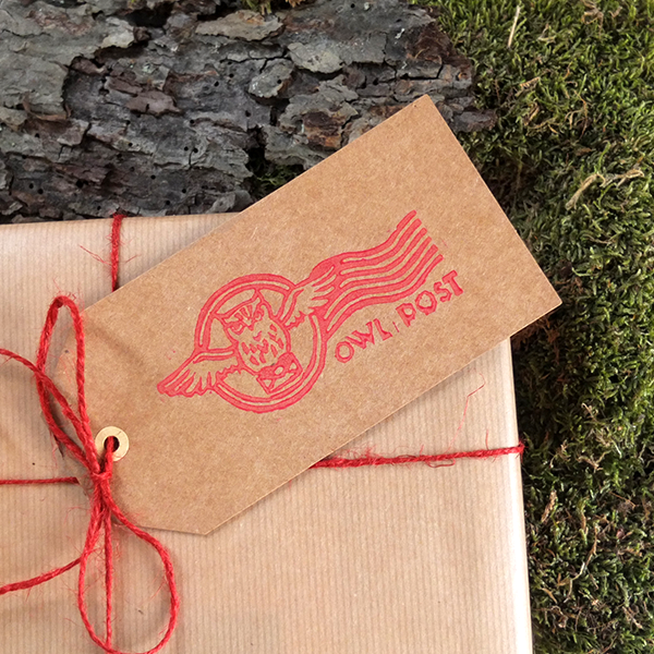 Owl post gift tag labels for mail or presents - colour red.