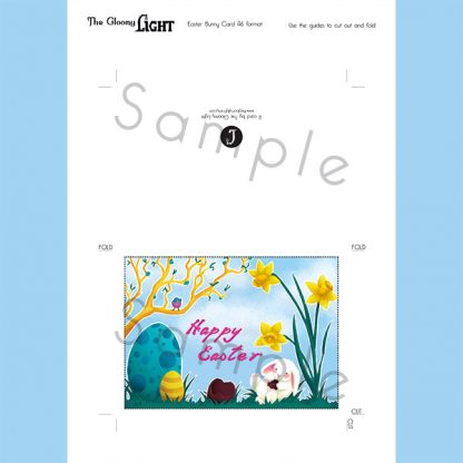 Easter Bunny card - printable PDF - preview of the downloadable product