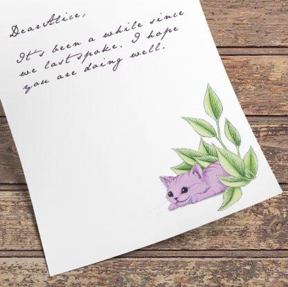 Cheshire Kitten PDF letter paper | Printable Stationery - sample letter