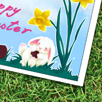 Easter bunny card - printable PDF - close up image of the bunny