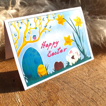 Easter Bunny card - printable PDF - preview of printed version