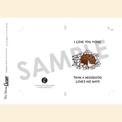 Hedgehog Valentine's day love letter card | printable - sample