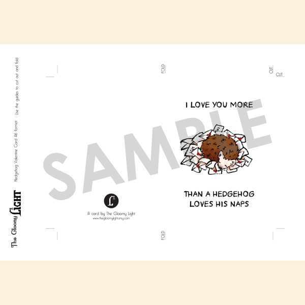Hedgehog Valentine's day love letter card | printable - sample