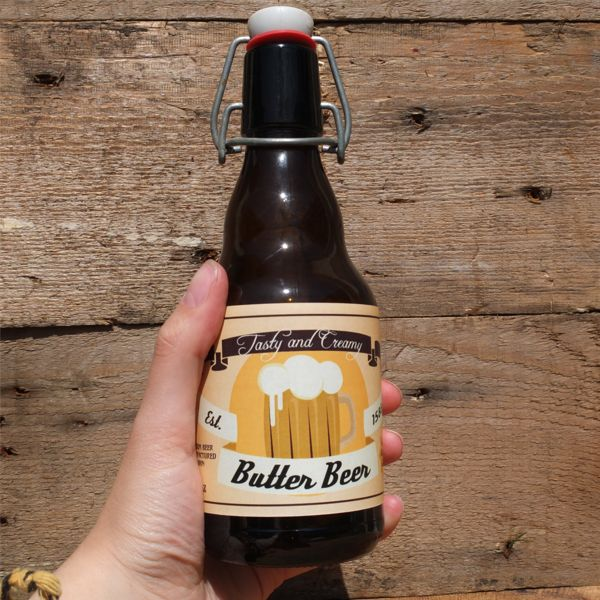 Butter Beer bottle in hand for reference