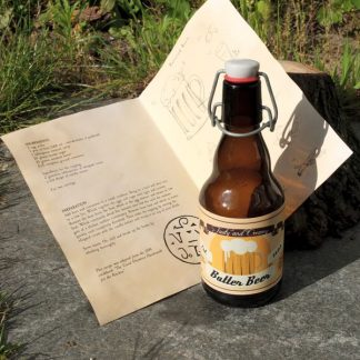Butter Beer bottle with inside view of recipe