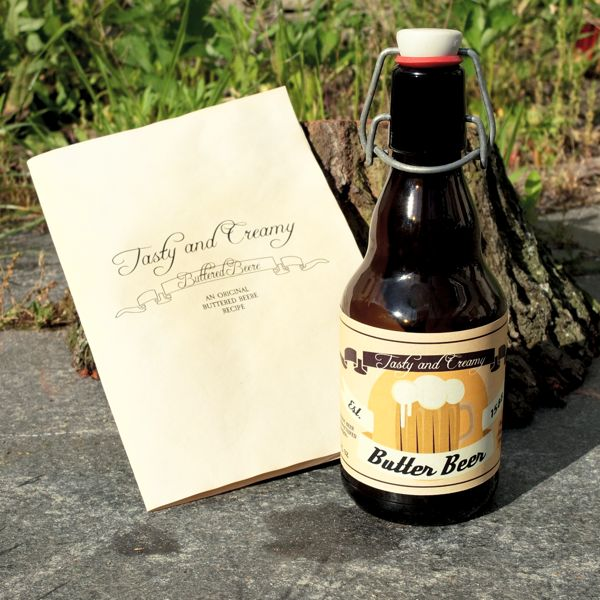 Butter Beer bottle and front view recipe