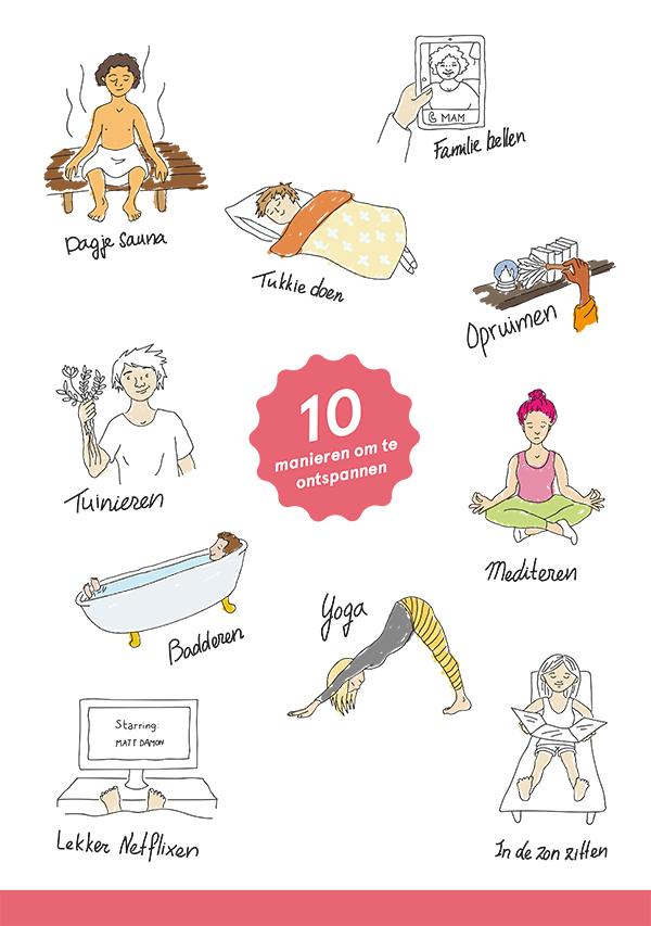 """Concept poster """"Ten ways to relax"""" for Kom Uit Je Dip Doos"""