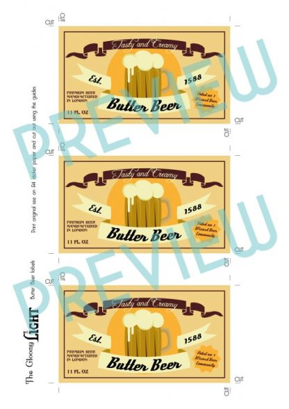 PDF preview of the Butter beer printable labels.