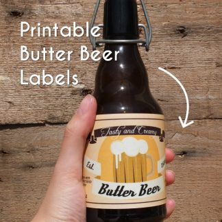 Butter Beer labels in a digital version, easily printable at home.