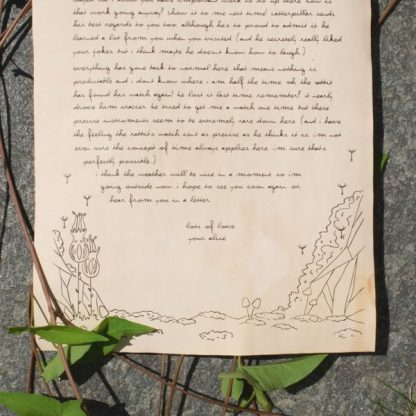 Plants and rocks - Aged stationery writing paper - close up sample letter image
