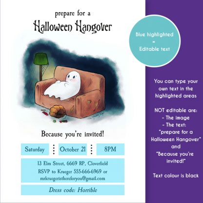 Image of the editable areas of the Halloween Hangover invitation template.