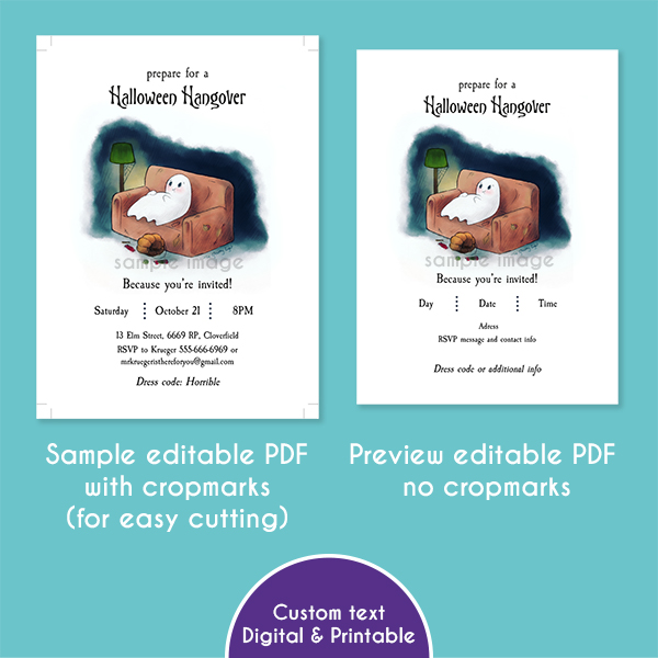 Image of two previews of the editable PDF Halloween Hangover invitations.