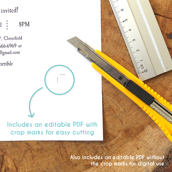 Image of the crop marks used in the Halloween Hangover invitation template.