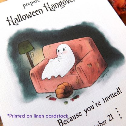 Sample of the Halloween Hangover invitation template printed on linen cardstock.