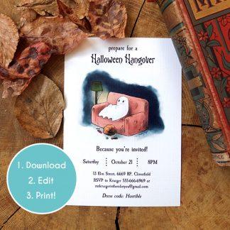 Main image of the Halloween Hangover invitation template.