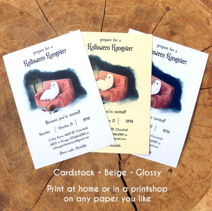 Image of some examples of the printed Halloween Hangover invitation template.