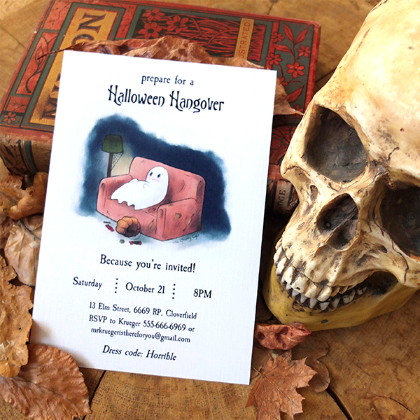 Styled image of the Halloween Hangover invitation template.