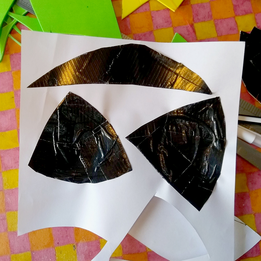 Cut the pieces out and place them on a piece of paper.